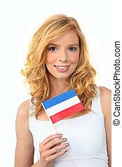 menina, bandeira, segurando, holandês