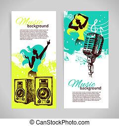menina, bandeiras, retro, respingo, mão, ilustração, blob, música, desenho, silhouette., dança, desenhado