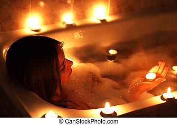 menina, banheira, dela, relaxante, atraente