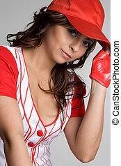 menina, basebol