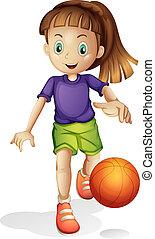 menina, basquetebol, jovem, tocando