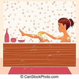 menina, bathing.eps