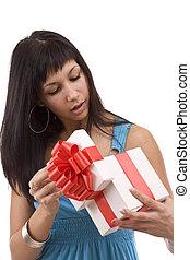menina, beautifull, giftbox, abertura