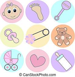 menina bebê, ícones