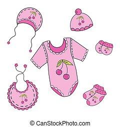 menina, bebê, 122a, jogo, vetorial, roupas