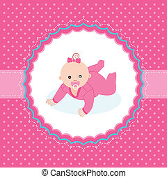 menina bebê, anúncio, card.