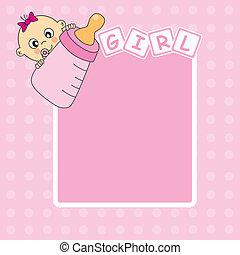 menina, bebê, anúncio, cartão, chegada