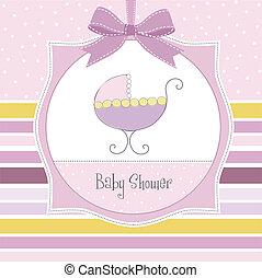 menina bebê, anúncio, cartão
