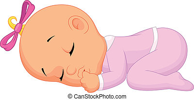 menina bebê, caricatura, dormir