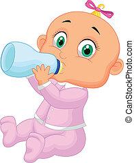 menina bebê, caricatura, leite bebendo