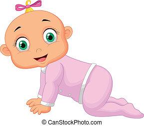 menina bebê, caricatura, rastejar