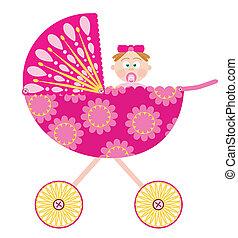 menina bebê, carrinho criança