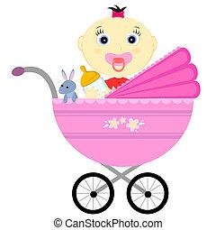 menina bebê, carruagem