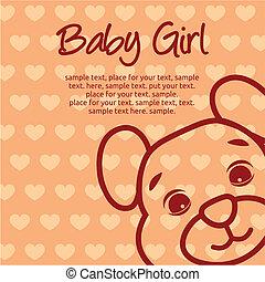 menina bebê, cartão, anúncio