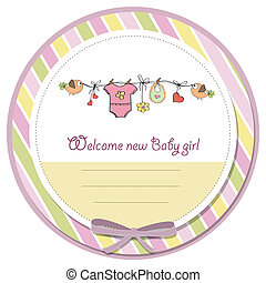 menina bebê, chuveiro, cartão