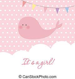 menina bebê, chuveiro, cartão, com, cute, baleia, e, bandeiras