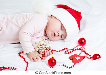 menina bebê, claus, santa, dormir