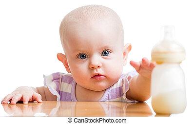 menina bebê, com, garrafa