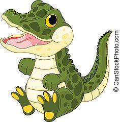 menina bebê, crocodilo