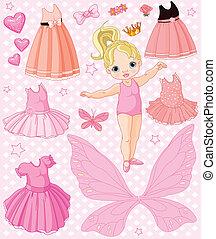 menina bebê, diferente, vestidos