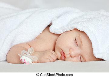 menina bebê, dormir