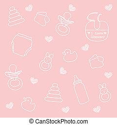 menina bebê, elementos, fundo cor-de-rosa