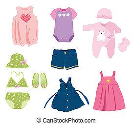 menina bebê, elementos, roupas