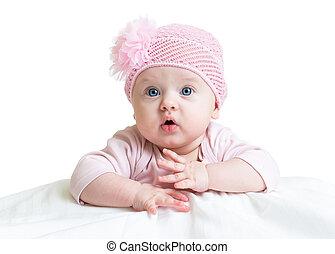 menina bebê, em, cor-de-rosa, tricotado, chapéu
