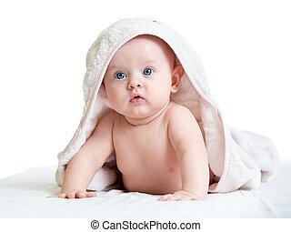 menina bebê, em, toalha