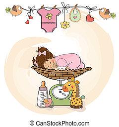 menina bebê, escala, pesando