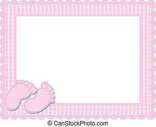 menina bebê, gingham, quadro