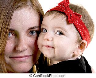 menina bebê, jovem, mãe