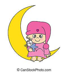 menina bebê, ligado, lua