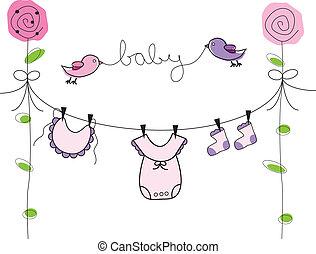 menina bebê, linha, roupas