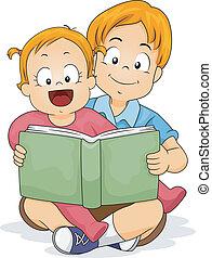 menina bebê, livro, irmão, leitura