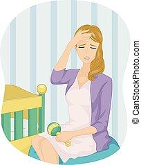 menina bebê, mãe, tensão, ilustração