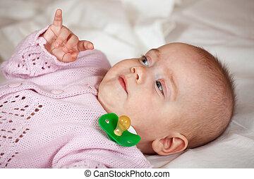 menina bebê, meses, 5