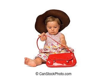 menina bebê, modelo moda