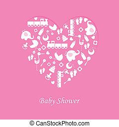 menina bebê, nascimento, cartão