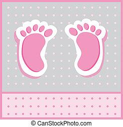 menina bebê, pés