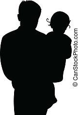 menina bebê, pai, junto
