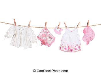 menina bebê, roupa, varal, penduradas