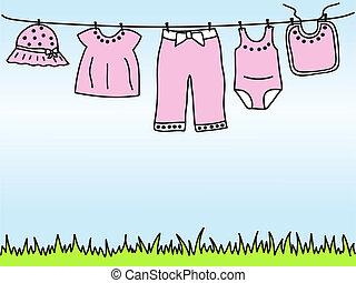 menina bebê, roupas, ligado, varal