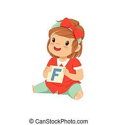 menina bebê, tocando, aprendizagem, jogo, com, f letra, card., fala, terapia, exercise., apartamento, criança, character.