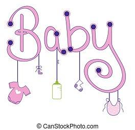 menina bebê, veste enfileire