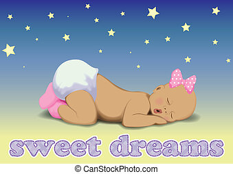 menina bebê, vetorial, dormir