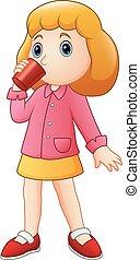 menina, bebendo, caricatura, copo