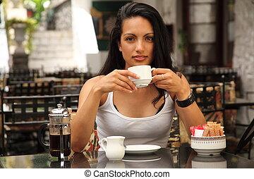 menina, bebendo, de, copo, em, café
