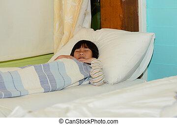 menina, bed., dormir