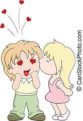 menina, beijos, a, menino, ligado, bochecha